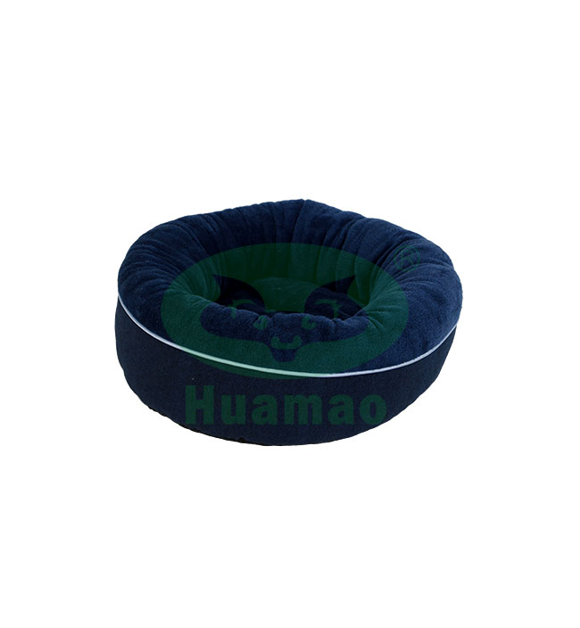 Dark Blue Donut Round Pet Bed Cushion
