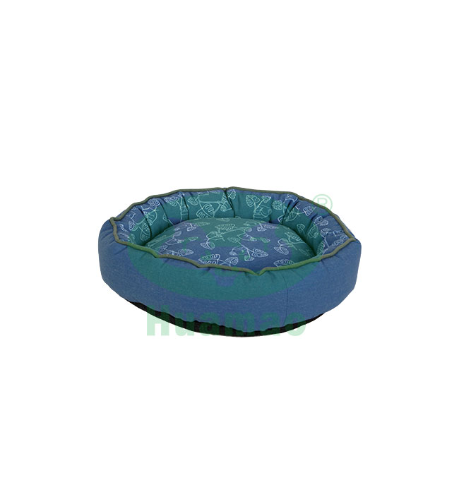 Blue Round Printing Pet Bed Cushion
