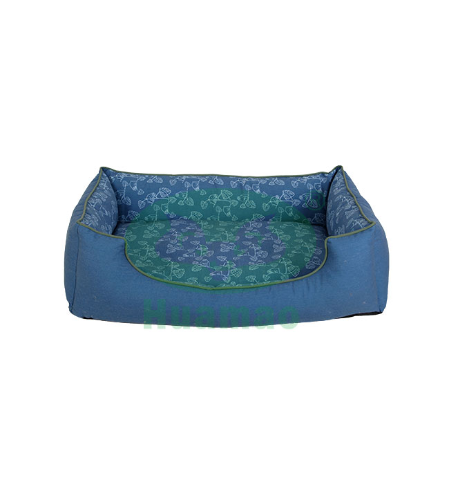 Blue Rectangle Printing Pet Bed Cushion